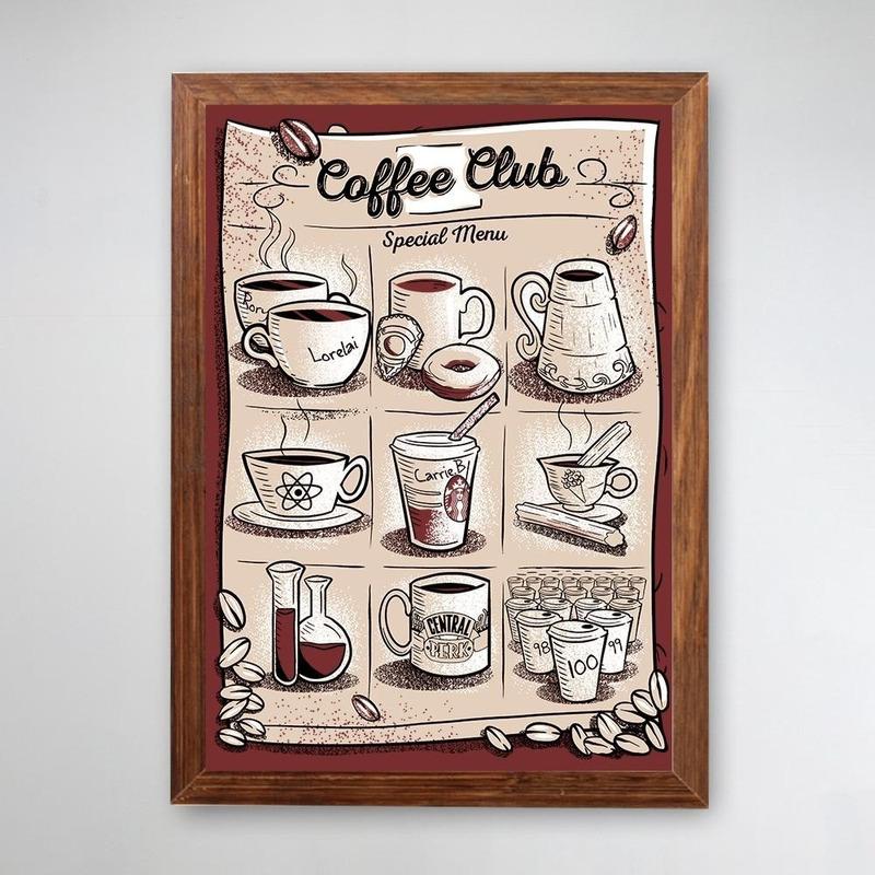 PÔSTER COM MOLDURA - COFFEE CLUB