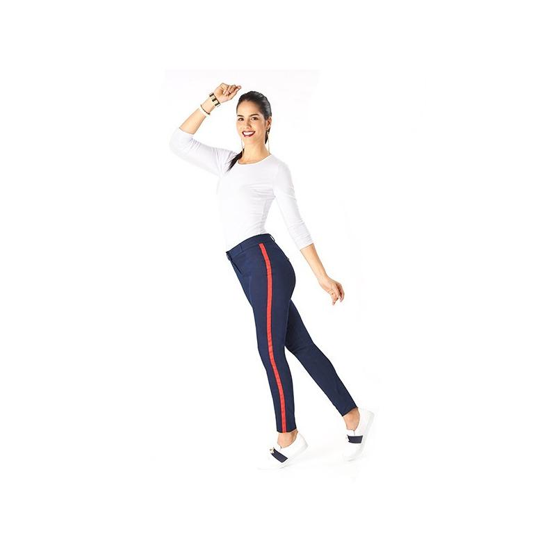 Pantalón azul línea roja lateral 014473