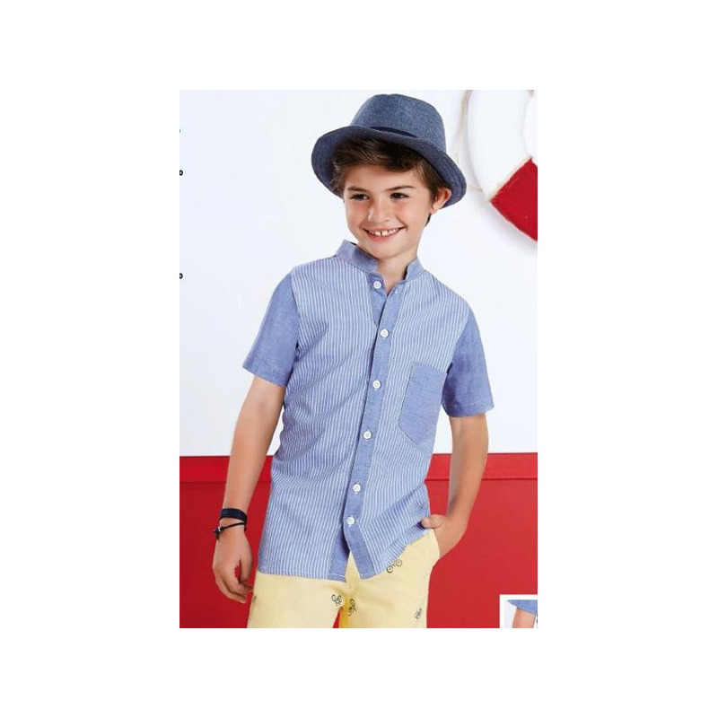 Camisa azul con blanco 015559