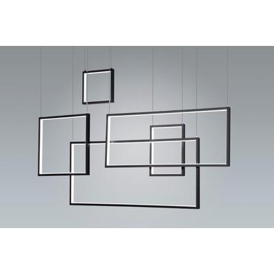 Colgante Led Rectangle L Negro 80w Deco Moderno Premium Gmg