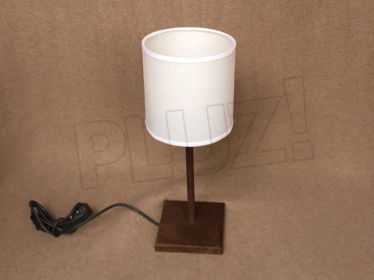 Lámpara Velador c/ Pantalla Tela Cilíndrica...