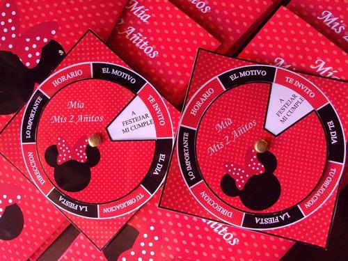 Tarjetas Invitaciones Minnie Roja Personalizadas X 35 En