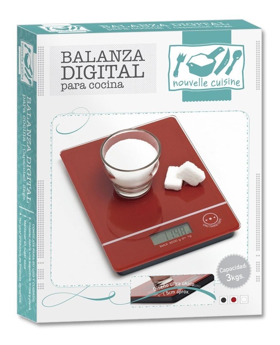 Balanza Digital Cocina 3 Kgs. Con Pila Tara On Off En Caja