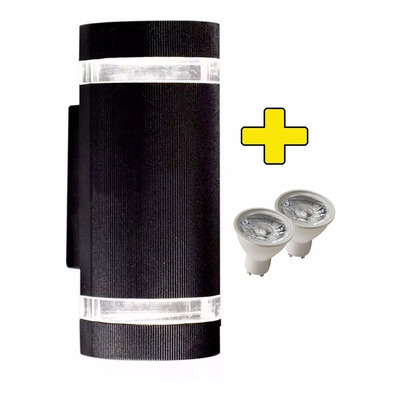 Aplique Difusor Bidireccional Curvo Ext Aluminio Con 2 Led