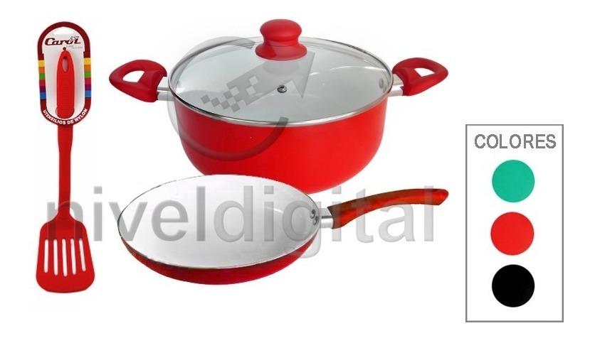 Kit Cocina 3 Pz Carol Ceramica Cacerola Sarten 24 + Espatula