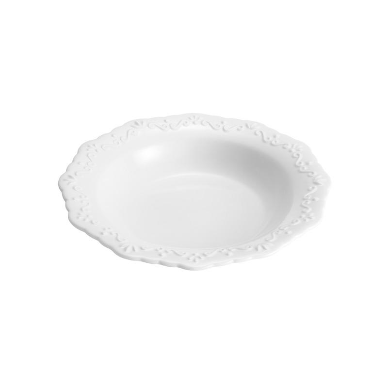Jogo 6 Pratos Fundos em Porcelana Alto Relevo 21 Cm - Wolff 31025088