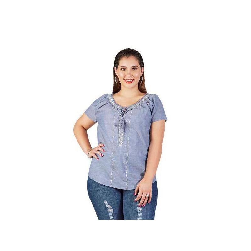 Blusa azul estampada 015213P