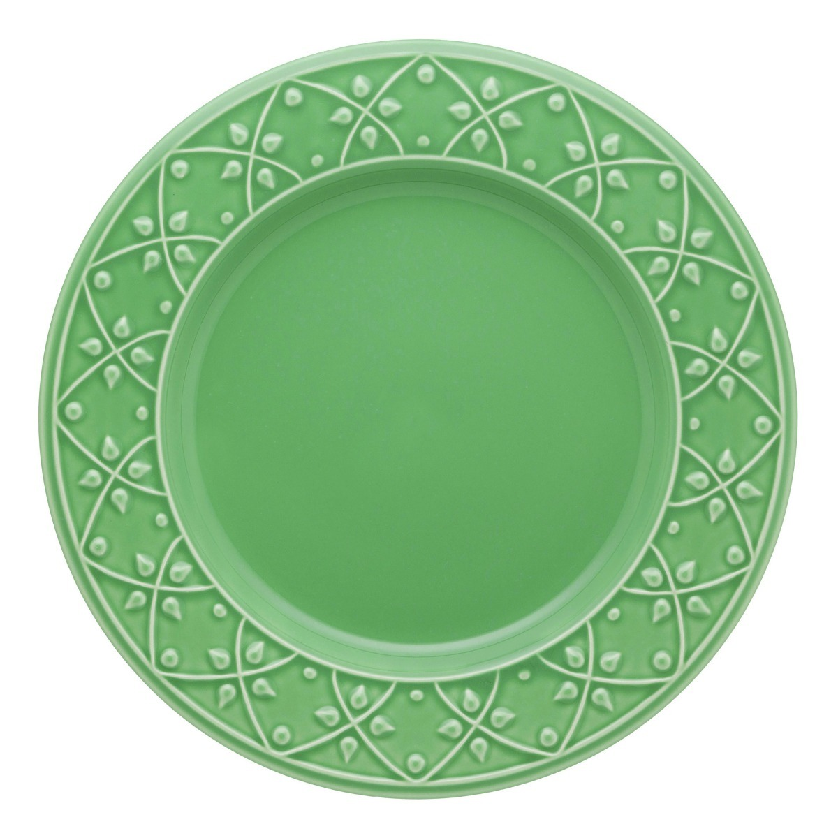 Plato Playo 26 Cm Ceramica Oxford Salvia Verde Fino Relieve