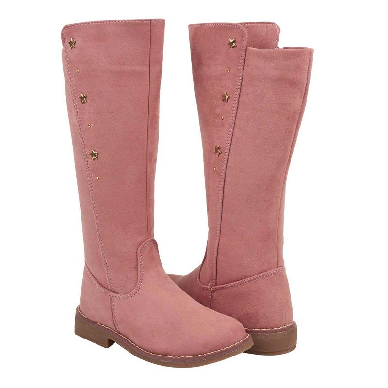 Bota rosa gamuza con perlas 018589