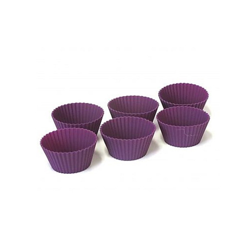 Pacote 6 Formas Silicone para Muffins e Cupcakes - Roxa Fosi