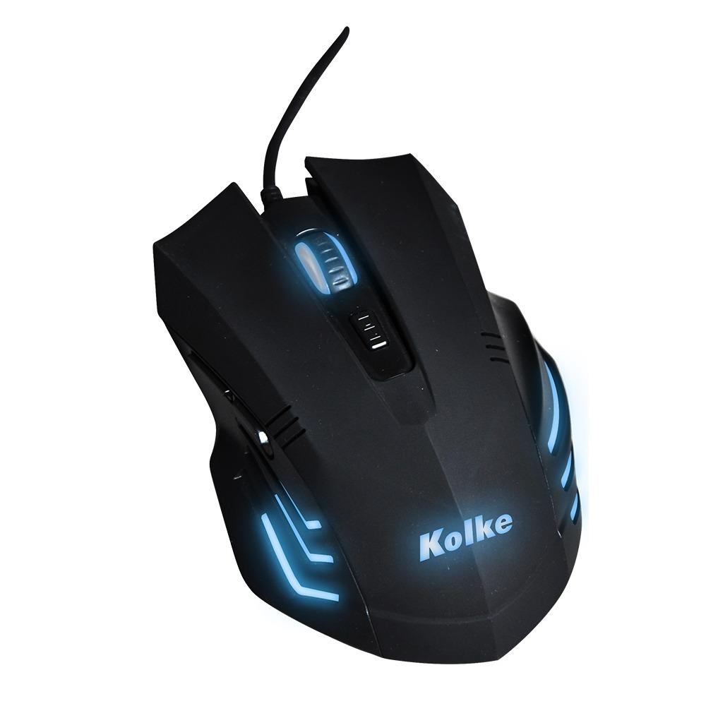 Mouse Gamer Retroiluminado Azul 2000 Dpi 6 Botones Kolke