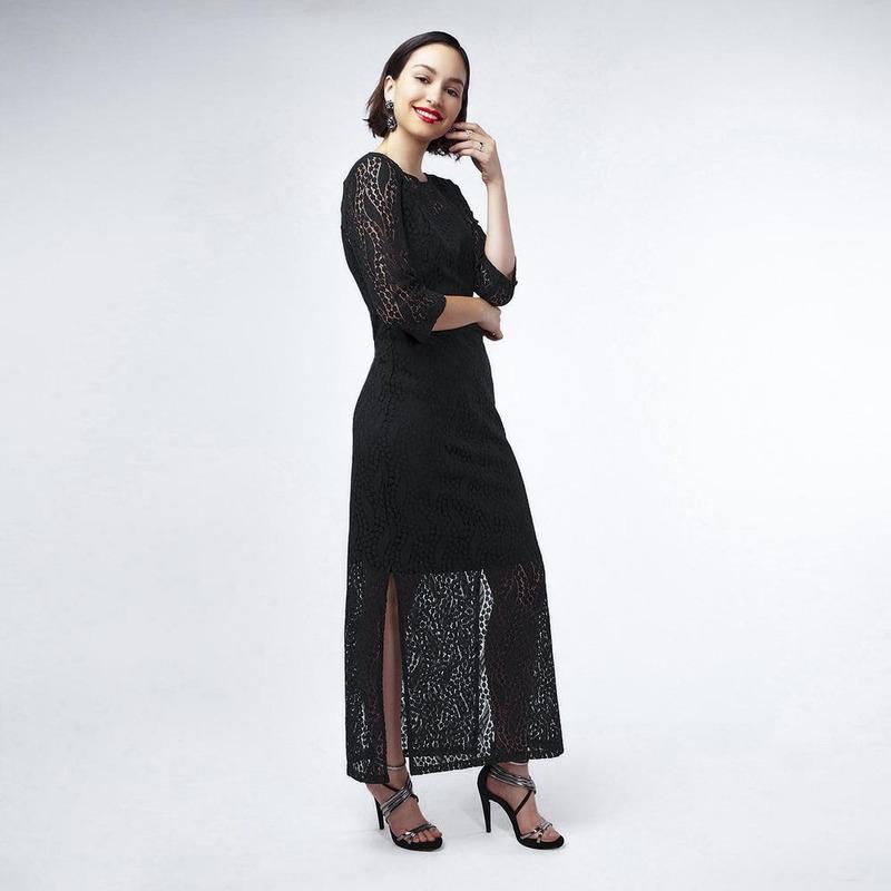 Vestido Negro Con Encaje 017357
