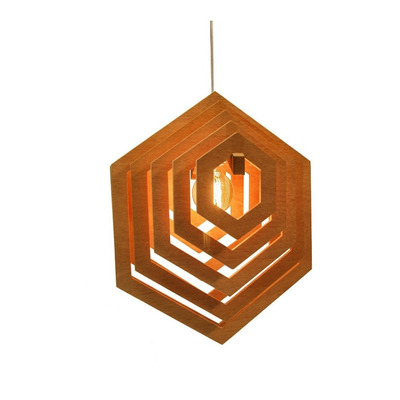 Lampara Colgante Hexagonal Madera Mdf Cedro 1003 Ad