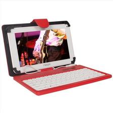 Funda Tablet 7 Pulgadas Rojo Teclado Cierre Magnetico Noga