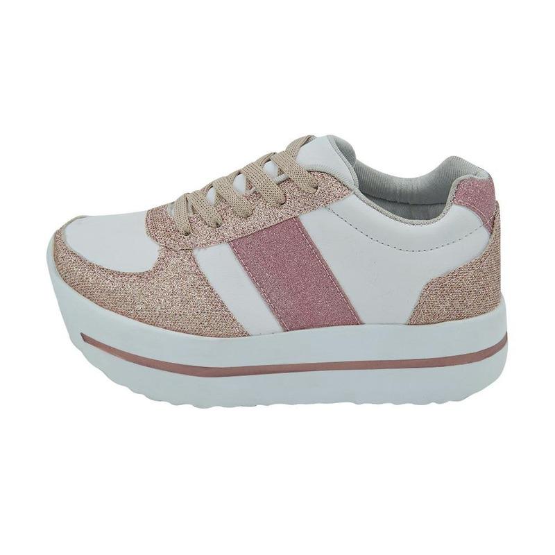 Sneakers Blancos Con Franjas Rosas De Brillos 014655