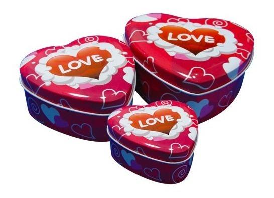 Set 3 Cajas Metalicas Lata Forma Corazon Enamorados Navidad