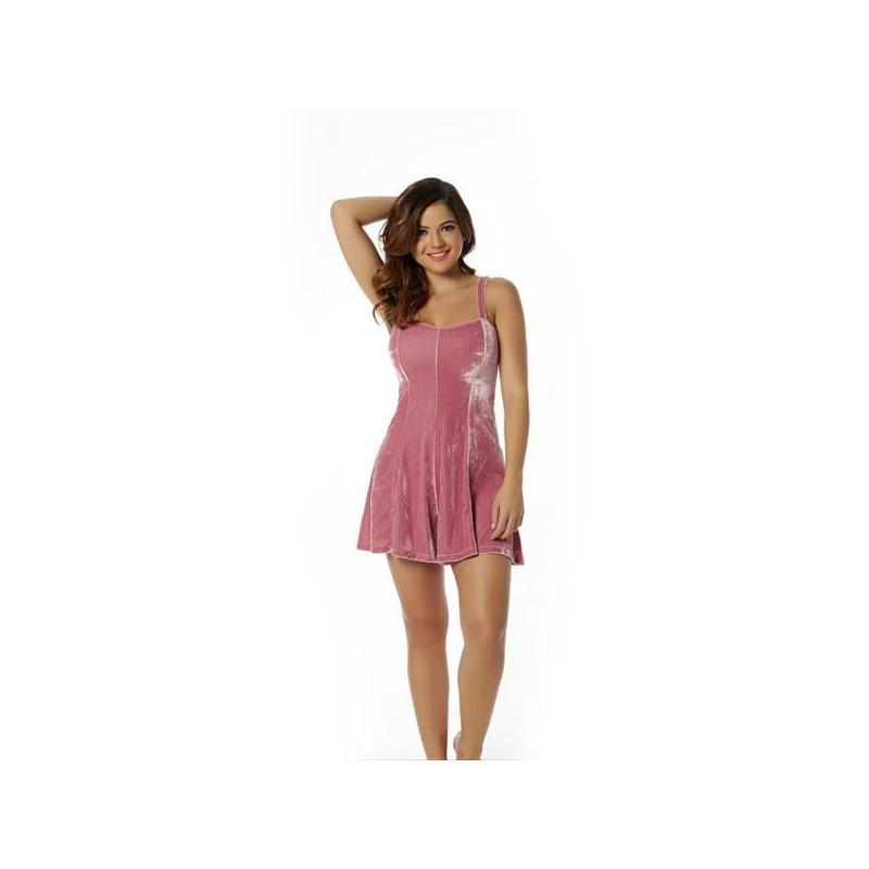 Vestido corto rosa terciopelo 010550