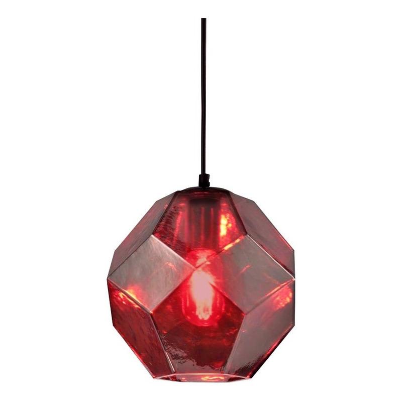 Colgante Cristal 1 Luz Rojo Birk Deco Moderno Apto Led Cie