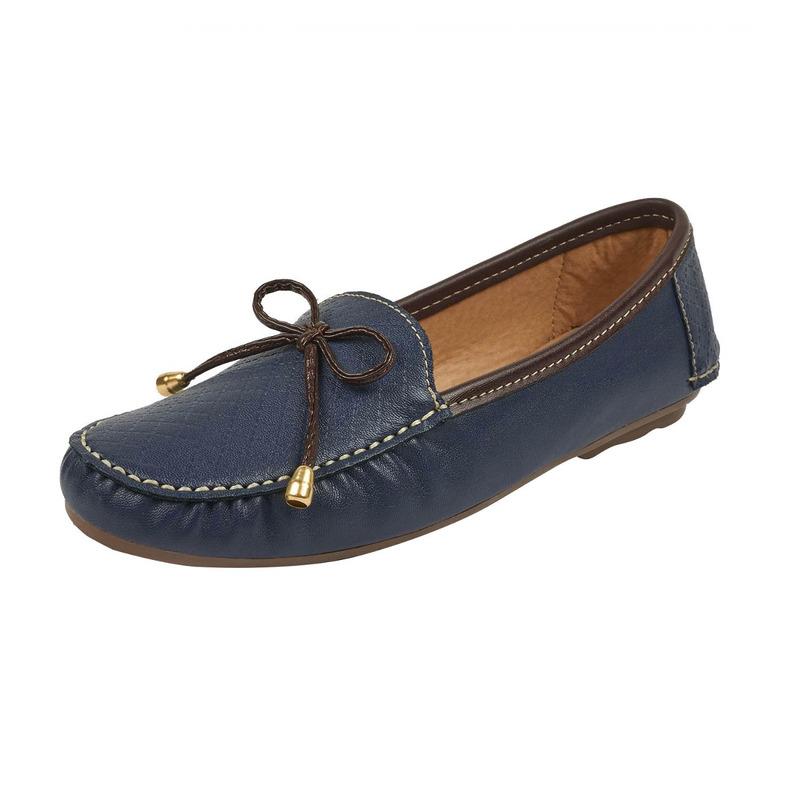 Flats azules costura y moño  016644