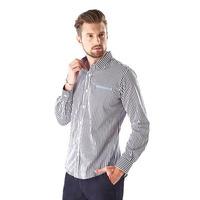 Camisa a rayas blanco y negro manga larga 014627