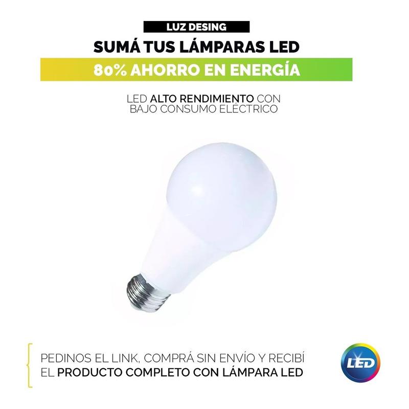 Colgante 3 Luces Para Lampara Bajo Consumo Tulipas De Vidrio