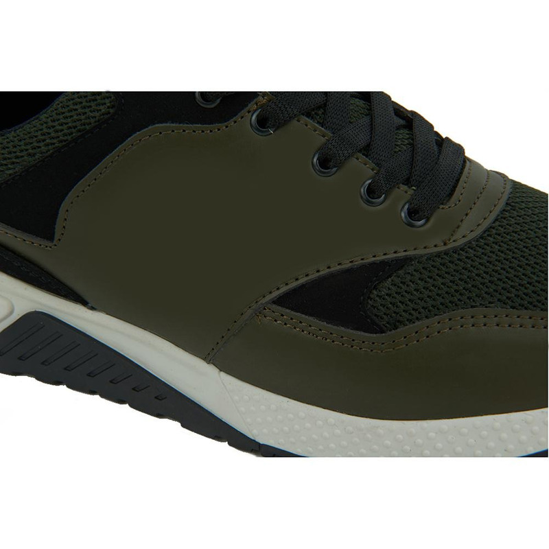 Sneakers Color Block Negro Y Verde 017528