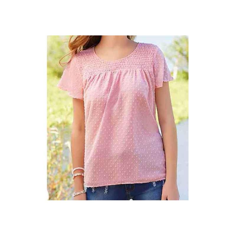 Blusa rosa manga corta 015140