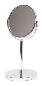 Espejo De Pie Con Base Aumento X5 Doble Faz Cromado Diseño