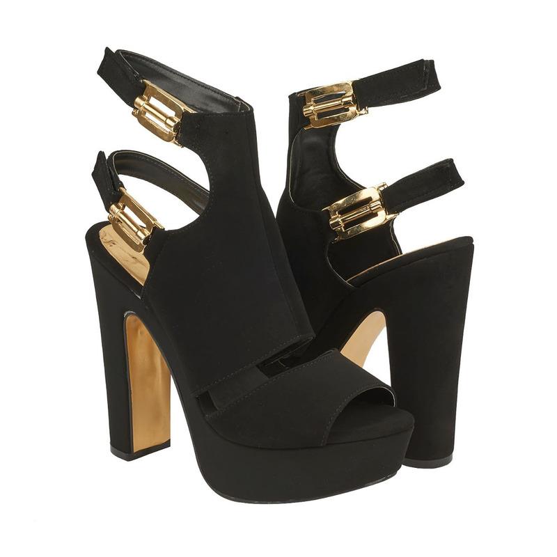 Sandalia tacón negra con pulseras 016418