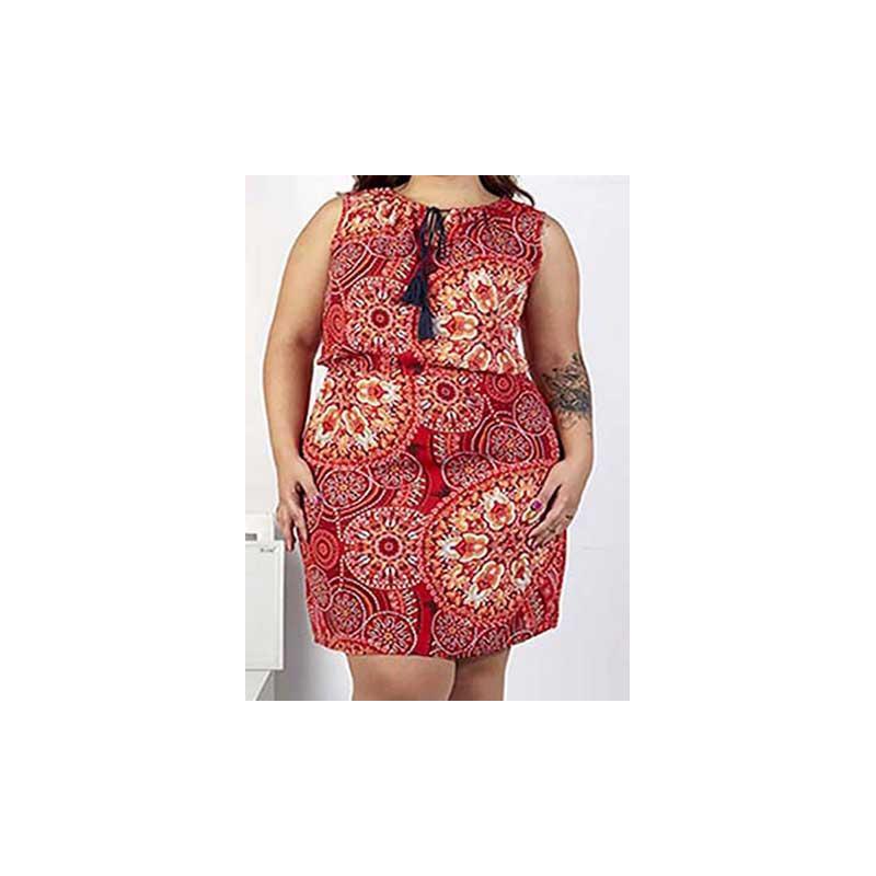 Vestido rojo multicolor estampado 015191