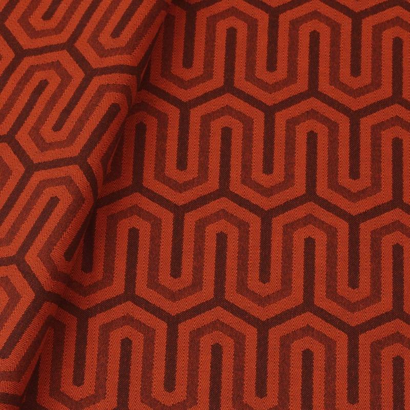 Tecido jacquard para almofada - laranja/marrom - Impermeável - Coleção Panamá