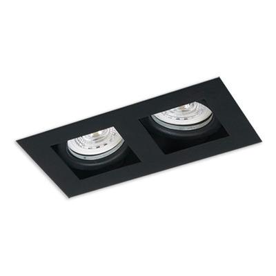 Plafon Embutir 2 Luces Con Led Antideslumbrante Negro Movil