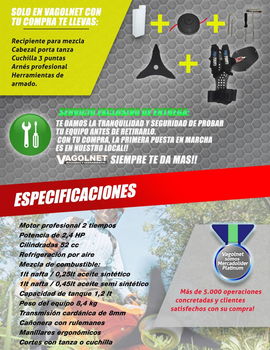 Desmalezadora Motoguadaña 52cc  Combo Full Elite 2019 Gamma