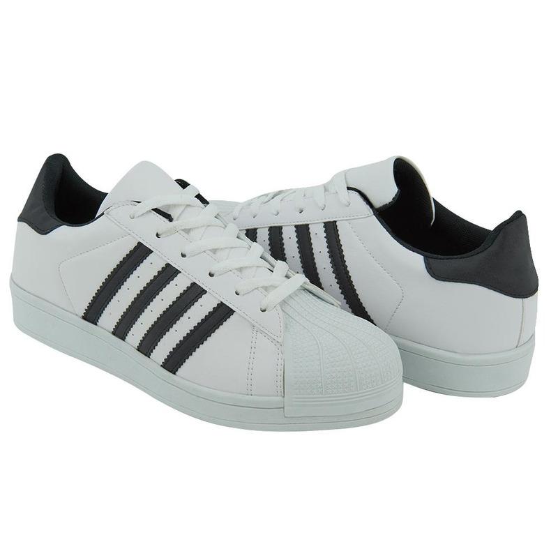 Sneakers Negros Con Líneas Blancas 017605