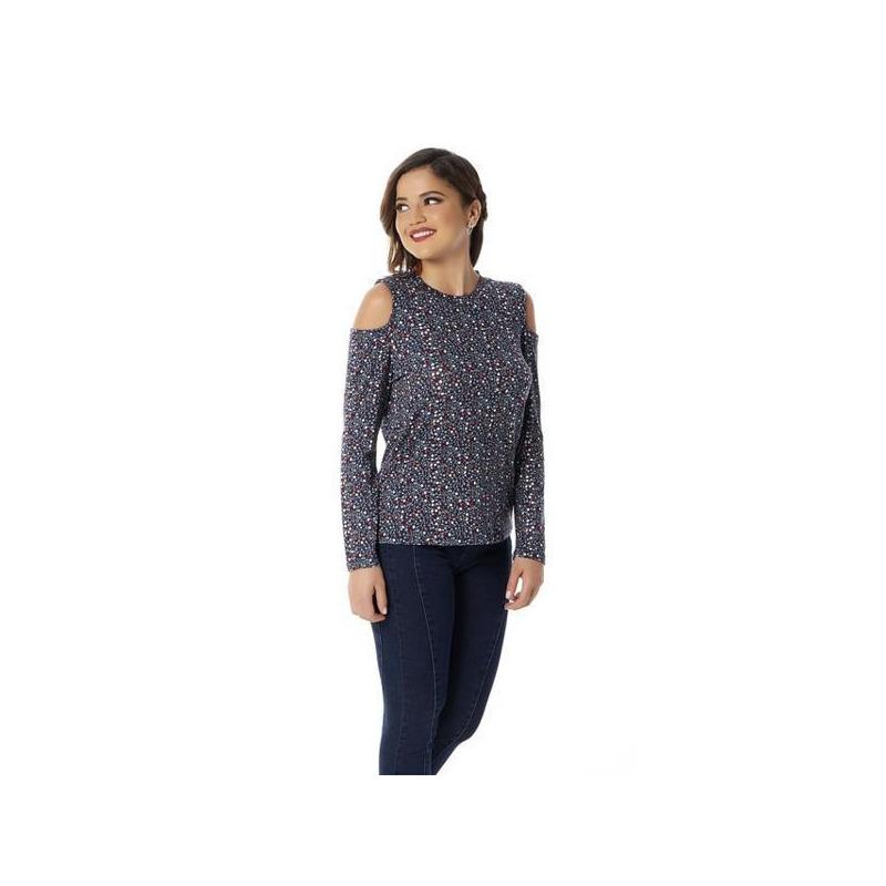 Blusa marino multicolor hombro descubierto 010013