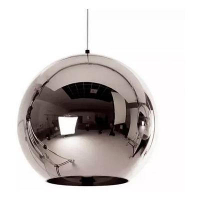 Lampara Colgante Vidrio Cromo 25cm Moderna Tom  Apto Led E27