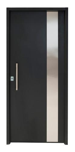 Puerta Inyectada Negra Con Barral 80x200 Derecha