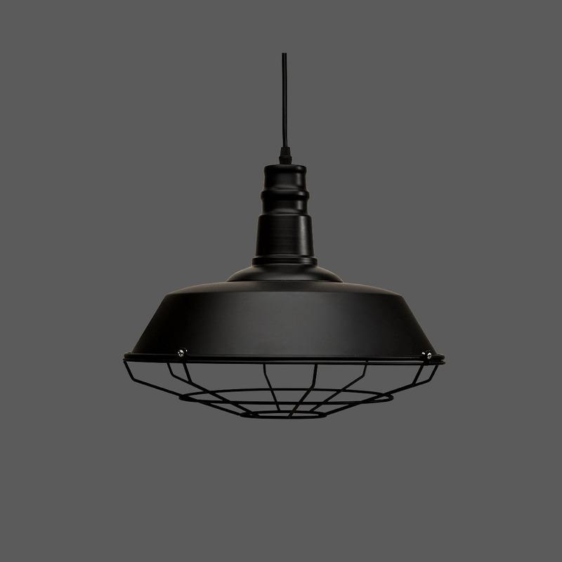 Colgante Vintage Reja Negro Industrial Diseño Moderno Led