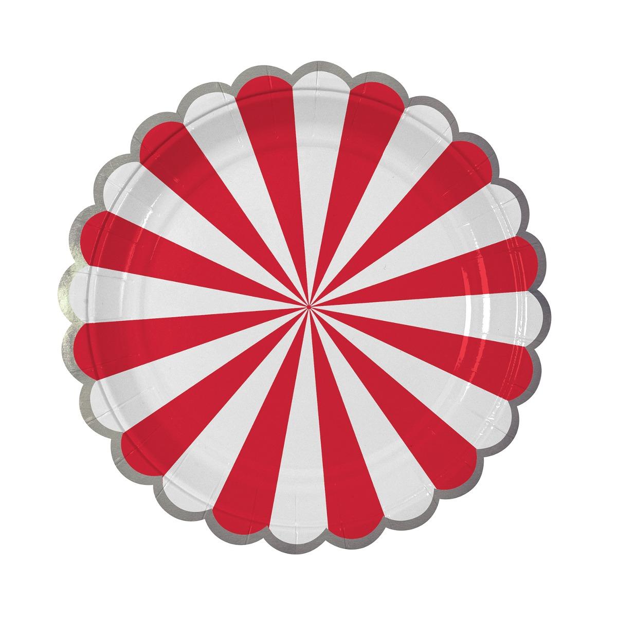 platos Stripe rojos chicos Fiestas