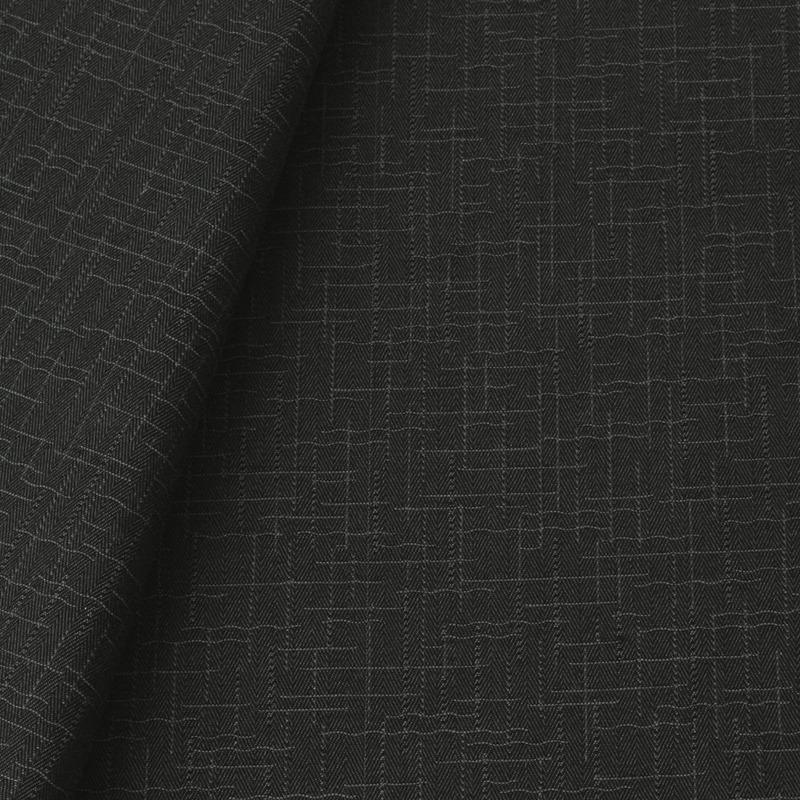 Tecido jacquard para sofá falso liso - cinza/preto - Impermeável - Coleção Panamá