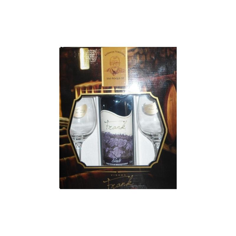 Kit Vinho Bordô com 2 taças e embalagem presente - Frank
