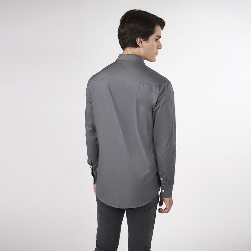 Camisa Gris Estampada De Manga Larga 019474