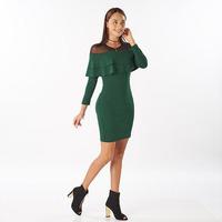 Vestido corto verde olanes en hombro 014505