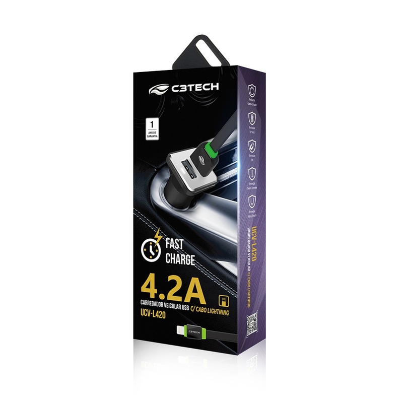 CARREGADOR VEICULAR COM 2 PORTAS USB 4.2A C3TECH UCV-L420BK PRETO