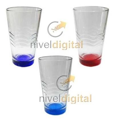 6 Vasos Conicos Vidrio Durax Base De Color Eventos Bar
