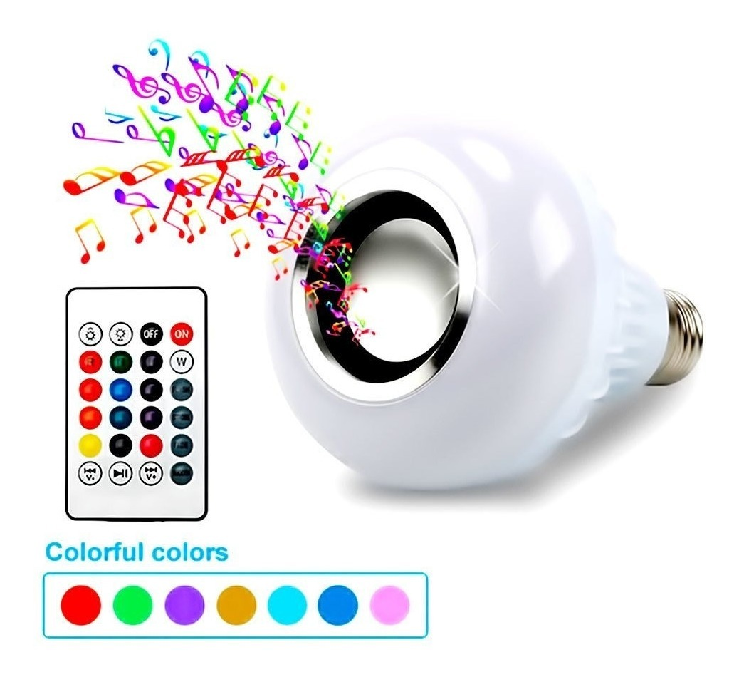 Foco Luz Lampara Parlante Bluetooth Con Control Remoto Color