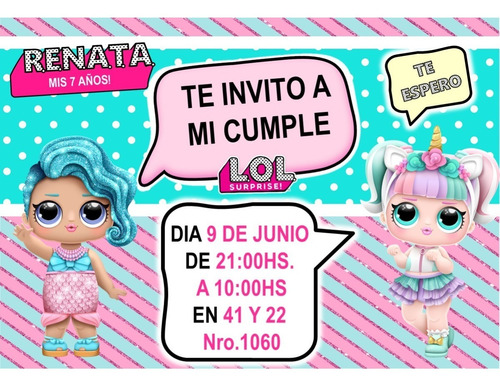 Tarjetas Invitacion Lol Surprise Personalizadas X 10 Un En