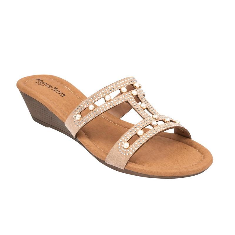 Sandalia plataforma blanca con perlas  016703
