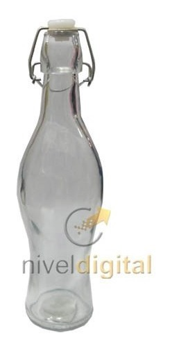 Botella De Vidrio Transparente Cierre Hermetico Agua Bebida