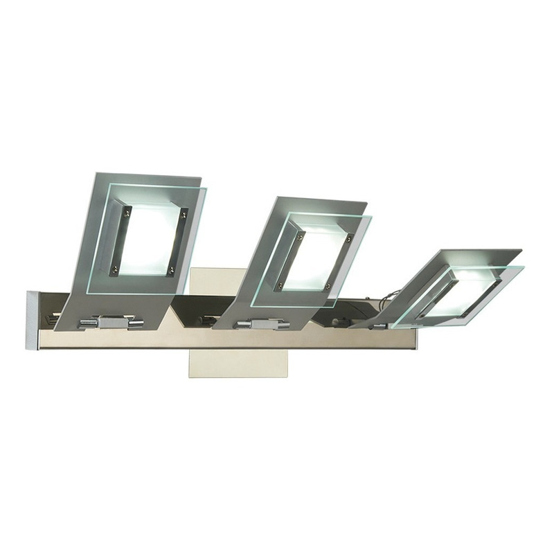 Aplique Led 3 Luces 36w Moderno Acero Y Cristal